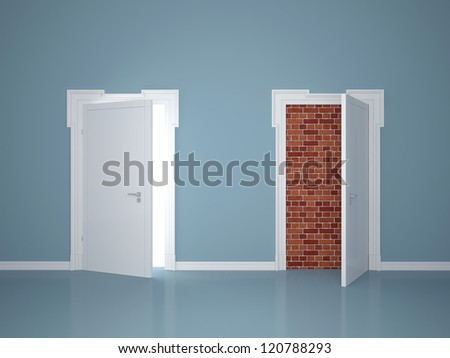 Two doors, one locked - stock photo