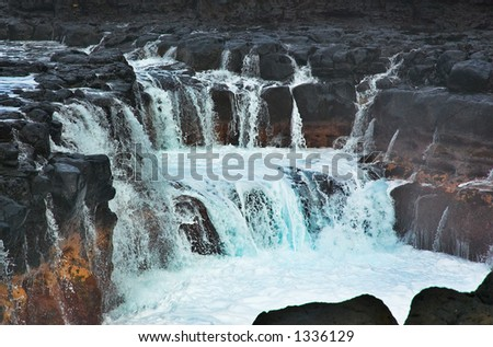 Two dozen waterfalls on Kauai Hawaii. More with keyword Series001C. - stock photo