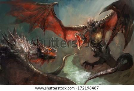 two dragoins having a duel  - stock photo