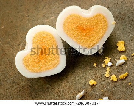 Two egg hearts with egg bits - stock photo