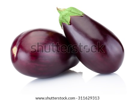 Two eggplant isolated on a white background - stock photo