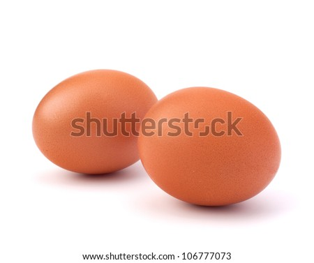 two eggs isolated on white background - stock photo