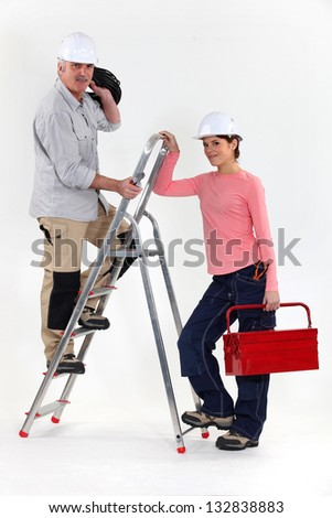 Two electricians - stock photo