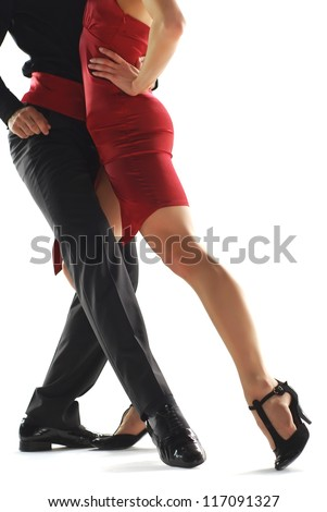 Two elegance tango dancers. Isolated over white background - stock photo