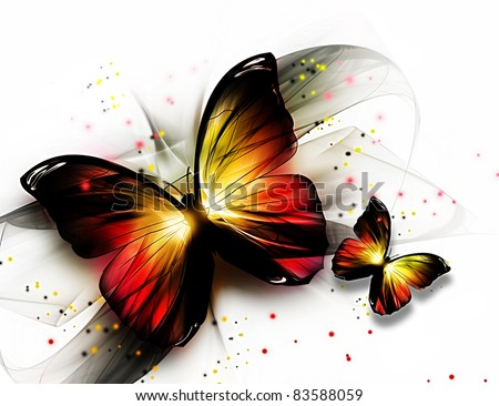 two elegant beautiful butterflys on a light background - stock photo