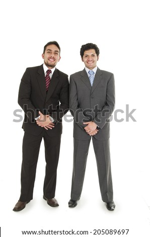 two elegant men in suits posing with hand in front isolated on white - stock photo