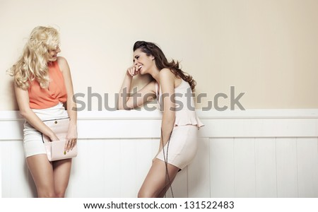 two elegant young beauties have a nice talk - stock photo