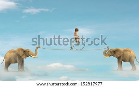 Two elephant pulling a rope with a child up - stock photo