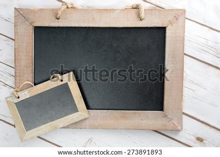 two empty blackboard with wooden frame / empty blackboard - stock photo