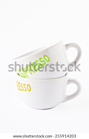 Two empty coffee cups on a white background - stock photo
