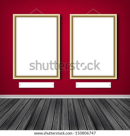 Two empty frames on a wall  - stock photo