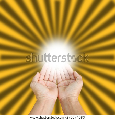 two empty hands isolated on gold  background, - stock photo