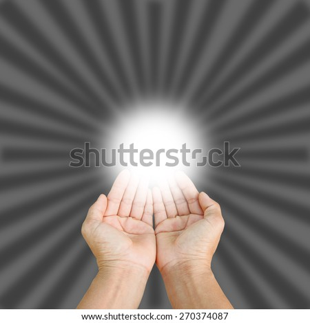 two empty hands isolated on gray background, - stock photo