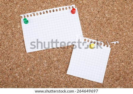 Two Empty Note Papers on Bulletin Board - stock photo