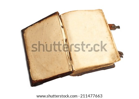 Two empty pages in an old book isolated on white background - stock photo