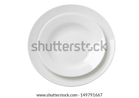 Two empty white plates. Illustration on white background - stock photo