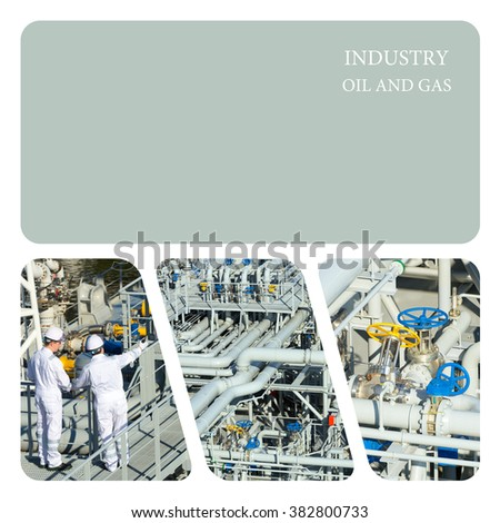 two engineer oil industry discussing a new project with large oil refinery background. . Oil And Gas Industry - stock photo