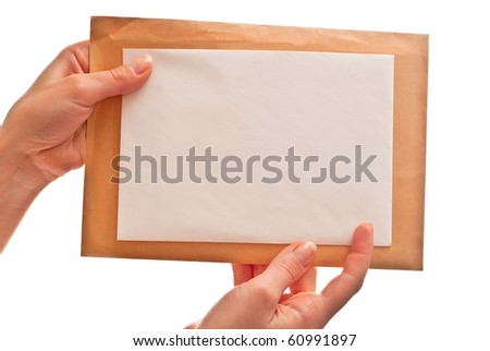 Two envelopes in woman's hands. Isolated on white - stock photo