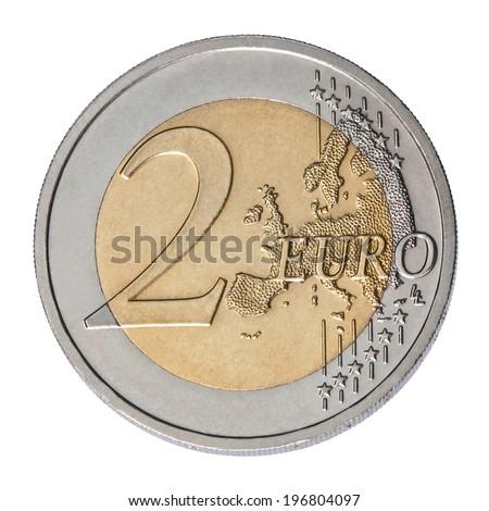 two euro coin closeup on white background - stock photo