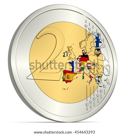 Two Euro Coin with Euro Area in Flag Colors - 3d-Illustration - stock photo