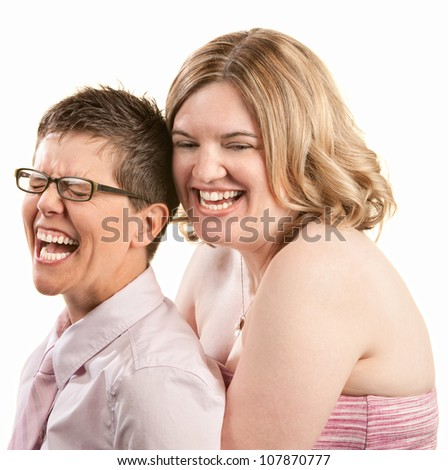 Two European friends laughing together over white background - stock photo