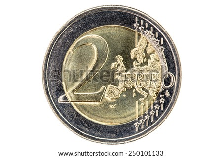 Two Euros Coin Isolated on White Background - stock photo