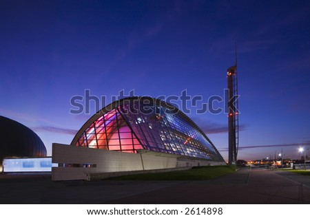 Two examples of Glasgow's modern architecture in twilight - stock photo