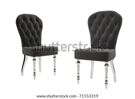Two fabric chairs isolated on white background - stock photo