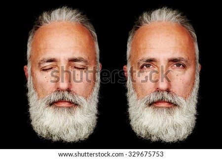 two faces of senior bearded man over black background - stock photo
