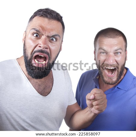 Two fanatic friends are getting crazy  - stock photo