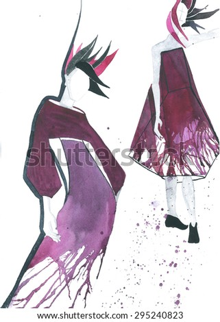 two fashionable girls in a purple dress with streaks watercolor hand illustration - stock photo