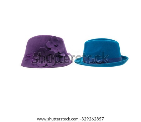 Two fedora hat isolated  - stock photo