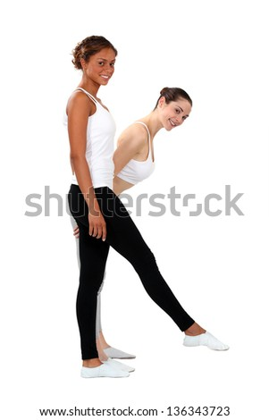 two female dancers - stock photo
