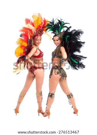 Two female dressed-up samba dancers - stock photo