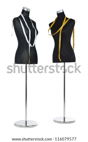 Two female mannequin with a tape measure on white background. File contains a path to isolation. - stock photo