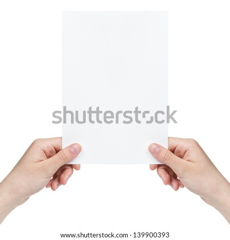 two female teen hands holding blank paper sheet, isolated on white - stock photo