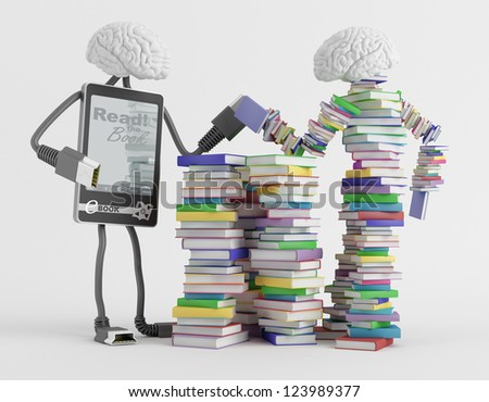 Two fictional character symbolizing reading are measured force - stock photo