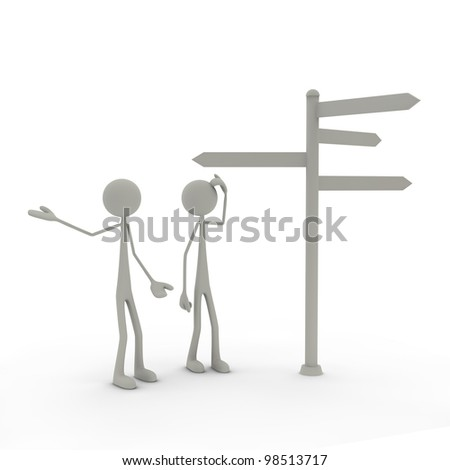 two figures stand in front of a direction sign - perplexed - stock photo