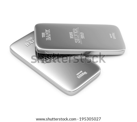 Two Flat Silver Bars isolated on white background - stock photo