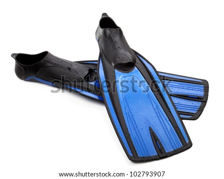 Two flippers for diving with water drops on white background - stock photo