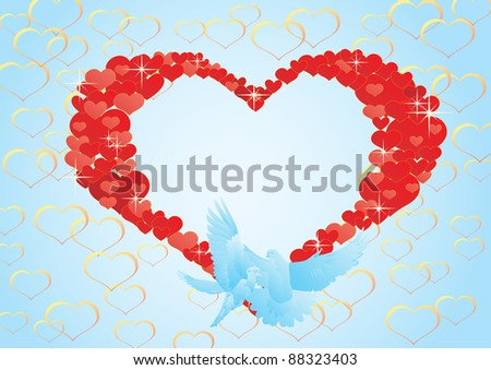 Two flying dove on a background of abstract hearts. - stock photo