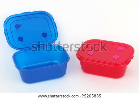 Two food plastic containers, storage - stock photo