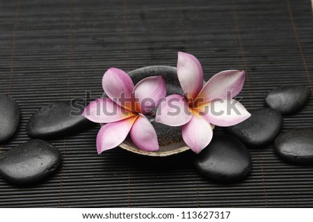 Two frangipani in bowl with pebble on bamboo mat - stock photo
