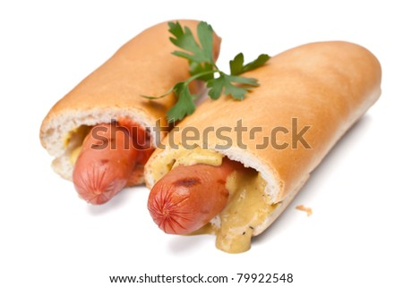 Two French Hot Dogs with Mustard and Ketchup  Isolated on White Background - stock photo