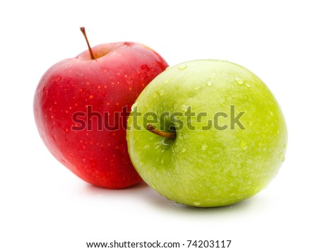 two fresh apples isolated on white background - stock photo