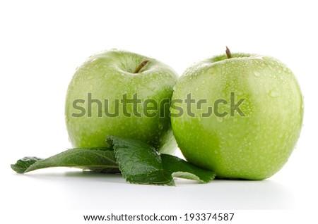 Two fresh green apples on white background. - stock photo