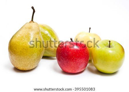 Two fresh green pears and three apples in red, green and yellow color. Group of juicy ripe fruits.  Isolated on white background. - stock photo