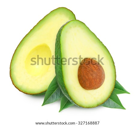 Two fresh green ripe avocado with leaf and slices with core isolated on white background. Design element for product label, catalog print, web use. - stock photo