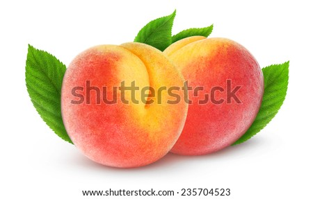 Two fresh peaches with leaves over white background, with clipping path - stock photo