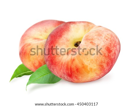 Two fresh ripe peach with green leaf isolated on white background.  Design element for product label, catalog print, web use. - stock photo